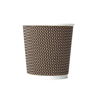 4oz Disposable Triple Wall Cup Brown Check Cup x 25 Pack