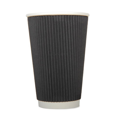 16oz Disposable Triple Wall Black Ripple x 25 Pack