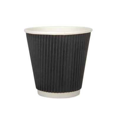 8oz Disposable Triple Wall Cup Black Ripple x 25 pack