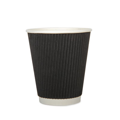 12oz Disposable Triple Wall Cup Black Ripple x 500 Case