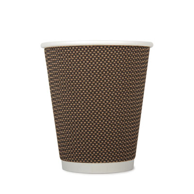 12oz Disposable Triple Wall Cup Brown Check x 20 Pack