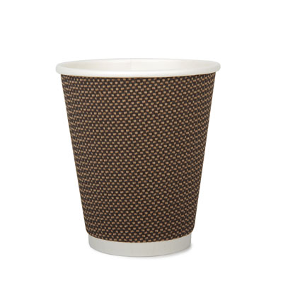 12oz Disposable Triple Wall Cup Brown Check x 500 Case