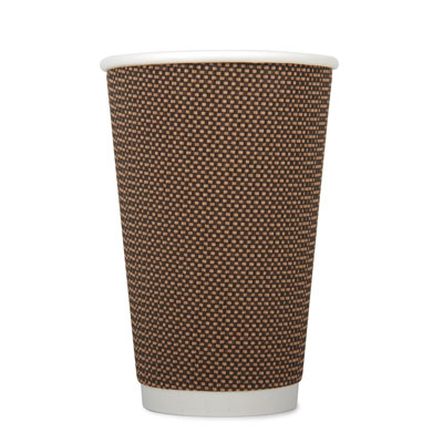 16oz Disposable Triple Wall Cup Brown Check x 25 Pack