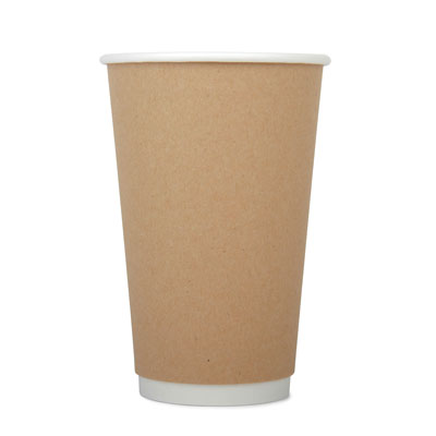 16oz Disposable Kraft Double Wall Cup x 25 Pack