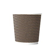 4oz Disposable Triple Wall Cup Brown Check Cup x 1000 Case