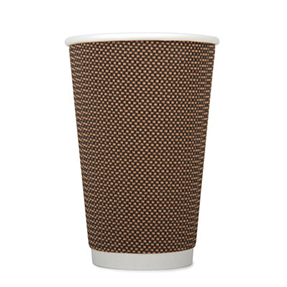 16oz Disposable Triple Wall Cup Brown Check x 500 Case