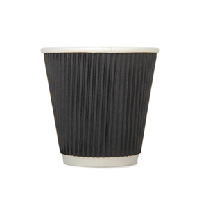 8oz Disposable Triple Wall Cup Black Ripple x 500 Case