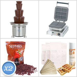 CF27R Chocolate Fountain & Square Waffle on a Stick Maker